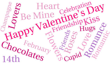 february 14th: Happy Valentines Day word cloud on a white background.