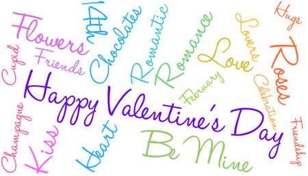 Happy Valentines Day word cloud on a white background.