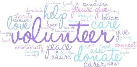 donating: Volunteer word cloud on a white background.