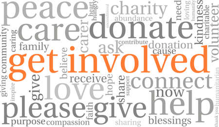 donating: Get Involved word cloud on a white background.