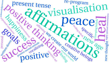 spiritual beings: Affirmations word cloud on a white background.