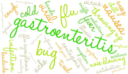 Gastroenteritis word cloud on a white background.  イラスト・ベクター素材
