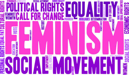 call history: Feminism word cloud on a white background.