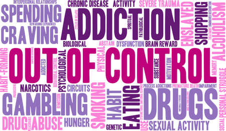 interpersonal: OutOfControl Addiction Word Cloud On a White Background.