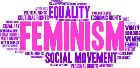 autonomia: El feminismo nube de palabras sobre un fondo blanco.