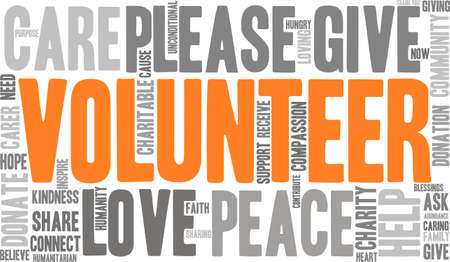 Volunteer word cloud on a white background.