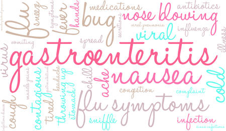 infectious: Gastroenteritis word cloud on a white background. Illustration