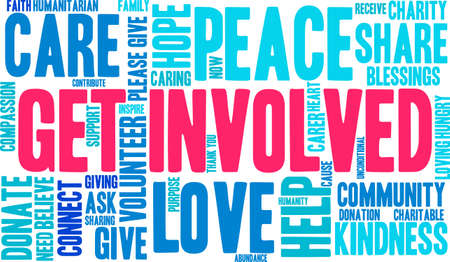 unconditional: Get Involved word cloud on a white background.