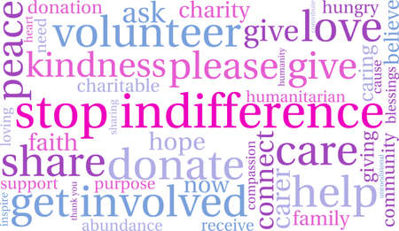 Stop Indifference word cloud on a white background.