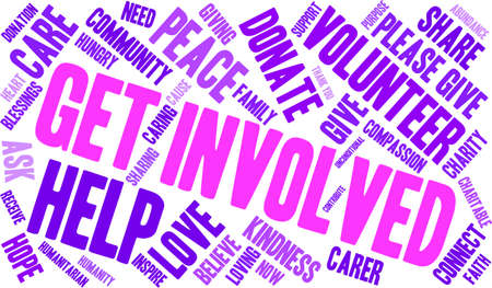 Get Involved word cloud on a white background.