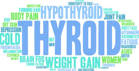 exhaustion: Thyroid word cloud on a white background.