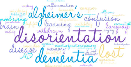illusionary: Disorientation word cloud on a white background.