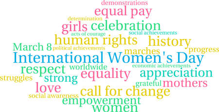 International Women's Day word cloud on a white background. Vettoriali