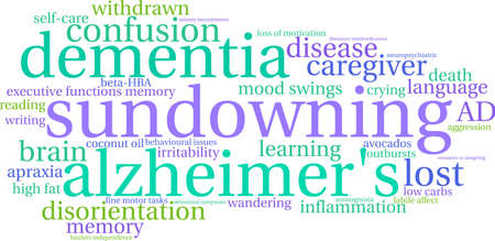 incontinence: Sundowning word cloud on a white background.