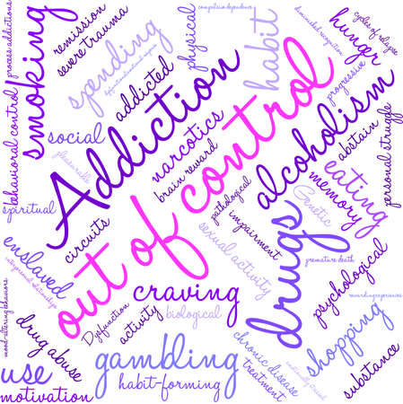 abstain: OutOfControl Addiction Word Cloud On a White Background.