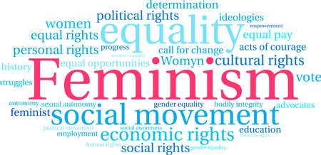 Il femminismo, parola, nuvola su uno sfondo bianco.