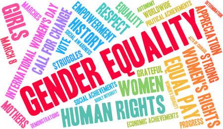 Genere nuvola parola uguaglianza su uno sfondo bianco.