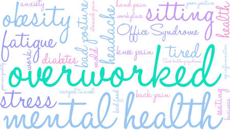 Overworked word cloud on a white background.