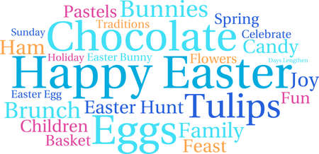 Happy Easter word cloud on a white background.
