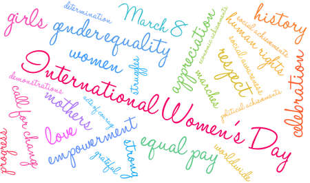 International Womens Day word cloud on a white background. Ilustracja