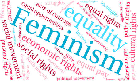 social history: Feminism word cloud on a white background.