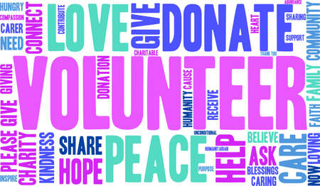 unconditional: Volunteer word cloud on a white background.