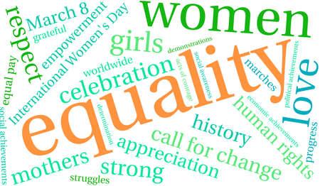 nuvola parola uguaglianza su uno sfondo bianco.