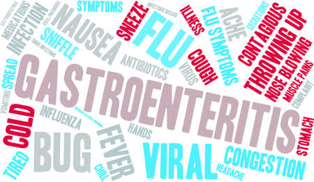 infectious disease: Gastroenteritis word cloud on a white background. Illustration