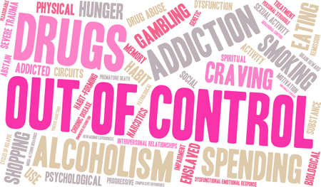 emotional stress: OutOfControl Addiction Word Cloud On a White Background.