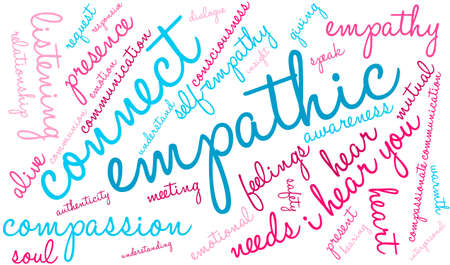 Empathic word cloud on a white background. Illustration