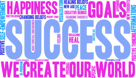 specific: Success word cloud on a white background.