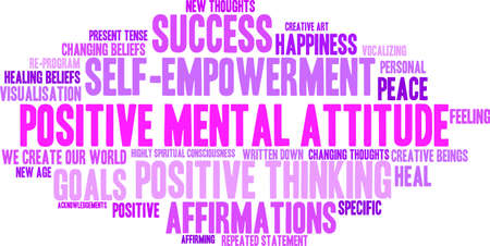 Positive Mental Attitude word cloud on a white background. Фото со стока - 94695101