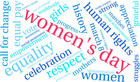 Womens Day Word Cloud on a white background.