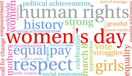 Nuvola di parola del giorno delle donne su un fondo bianco. Archivio Fotografico - 94795543