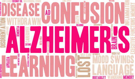 Alzheimers word cloud on a white background.