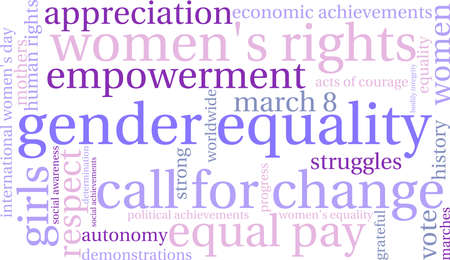 gender equality: Gender Equality word cloud on a white background.
