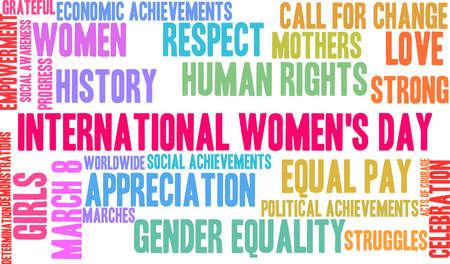 Nuvola di parola di Giornata internazionale della donna su un fondo bianco.