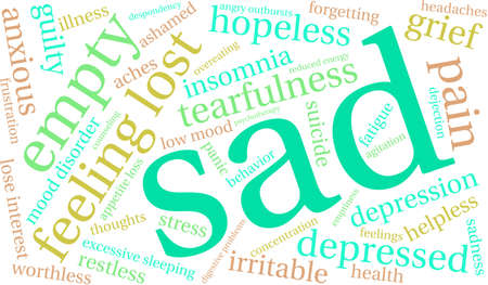 Sad word cloud on a white background.
