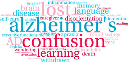 Alzheimer's word cloud on a white background. Stok Fotoğraf - 94658988