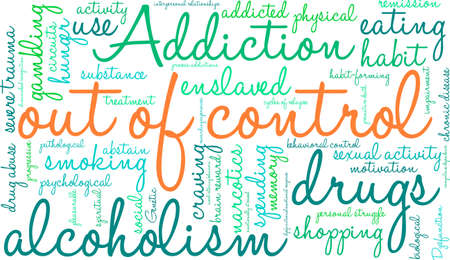 sexual activity: OutOfControl Addiction Word Cloud On a White Background.