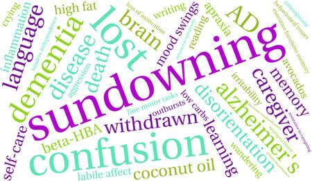 Sundowning word cloud on a white background.