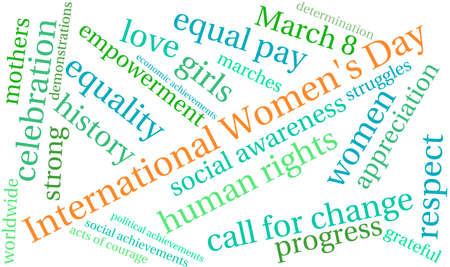 International Womens Day word cloud on a white background. Ilustração