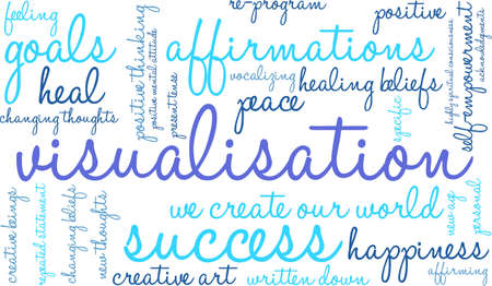 Visualisation word cloud on a white background.