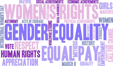 Gender Equality word cloud on a white background.