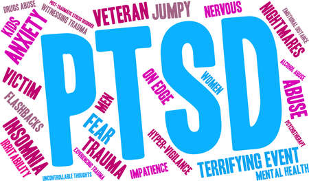 vigilance: PTSD Word Cloud on a white background. Illustration
