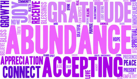 channeling: Abundance word cloud on a white background. Illustration
