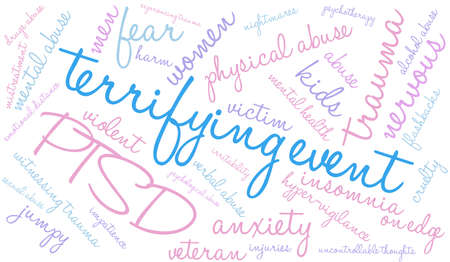 Terrifying Event word cloud on a white background. Ilustrace