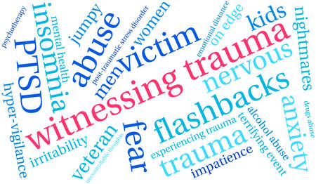 terrifying: Witnessing Trauma word cloud on a white background. Illustration