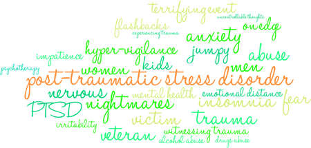 Post-Traumatic Stress Disorder Word Cloud on a white background. Illustration