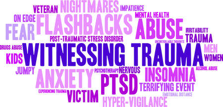 Witnessing Trauma word cloud on a white background. Illustration